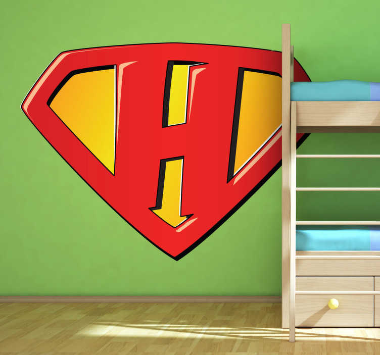 TenStickers. Super Hero H Kids Sticker. Harry, Henry, Hannah, Helena... Ideal sticker for your kids wall especially if your childs name starts with an H