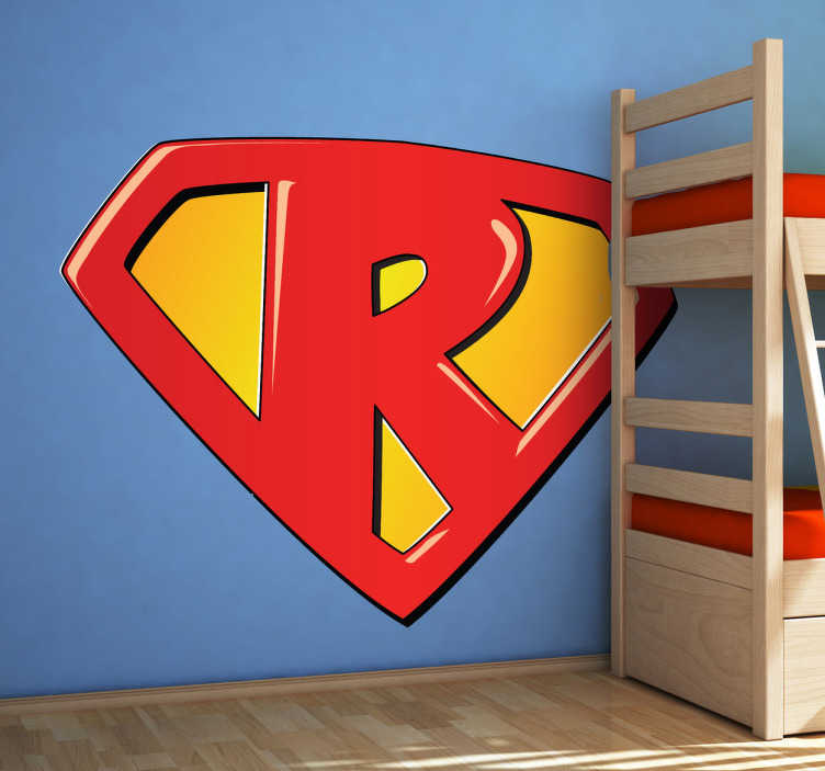 TenStickers. Naklejka na ścianę dla dzieci super R. Naklejka na ścianę dla dzieci litera R. Jeśli Twoje dziecko ma imię zaczynające się na literę R, dzięki tej naklejce poczuje się jak superbohater!