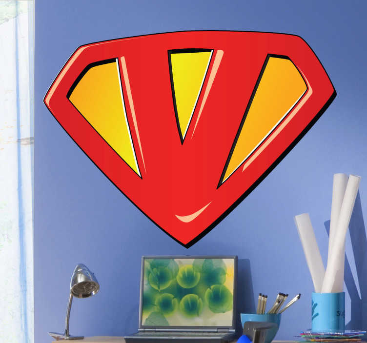 TenStickers. Sticker kinderkamer super V. Victor, Vincent, Valerie, Veerle ..? Personaliseer de kamer van je kind met deze leuke muursticker gebaseerd op het teken van Superman.