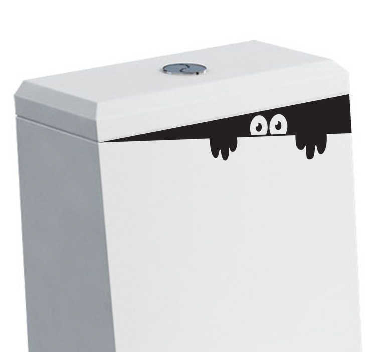 TenStickers. Adesivo decorativo monstrinho à espreita. Adesivo decorativo engraçado que faz com que pareça que alguém está escondido dentro do repositório da sua sanita.