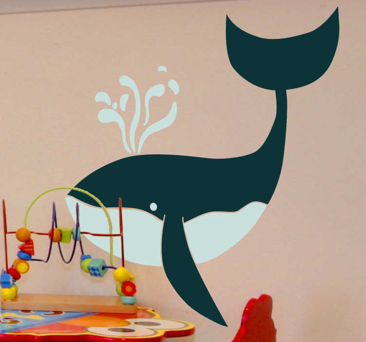 TenStickers. Sticker kinderkamer tekening walvis. Muursticker met de afbeelding van een grote walvis. Een leuke wandsticker van een walvis voor de decoratie van de slaapkamer of speelhoek van je kind.