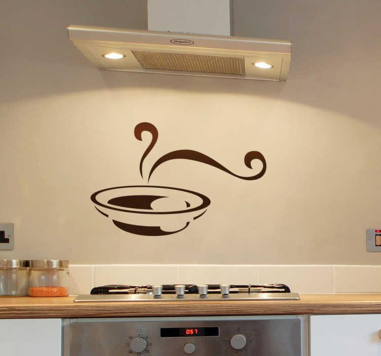 TenStickers. Naklejka dekoracyjna zupa. Naklejka dekoracyjna przedstawiająca talerz gorącej zupy. Naszą naklejką możesz ozdobić nie tylko ścianę, ale także meble oraz wyposażenie kuchenne.