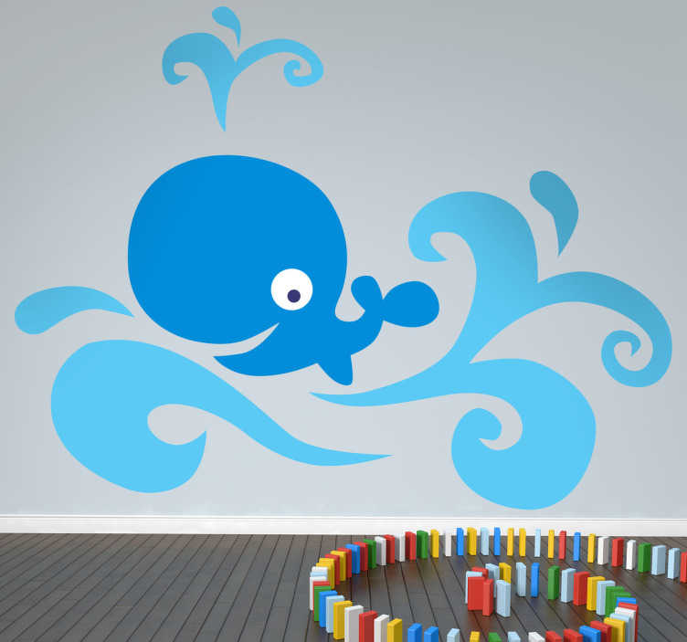 TenStickers. Happy Blue Whale Kids Sticker. Fun and cheerful blue whale wall sticker swimming in the ocean and blowing water out its spout. This simple vibrant design shows a smiling blue whale amongst the waves, ideal for decorating the nursery, bedrooms or play areas for kids, or adding that colourful touch to your bathroom!