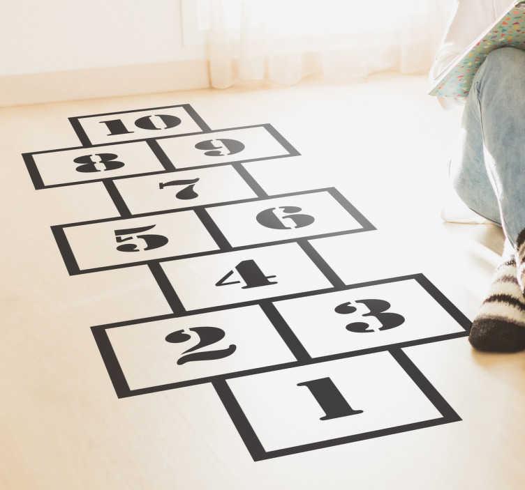 TenStickers. Numeri adesivi gioco campana. Wall sticker decorativo per bambini che raffigura lo schema del celebre gioco campana.