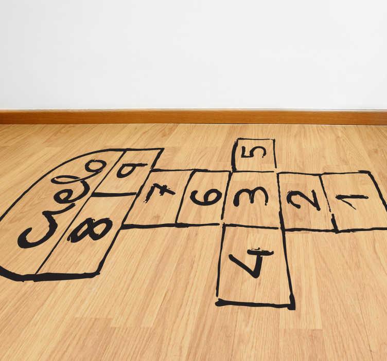 TenVinilo. Vinilo infantil rayuela pintada. Adhesivo con el clásico juego de toda la vida de casillas numeradas dibujadas en el suelo.