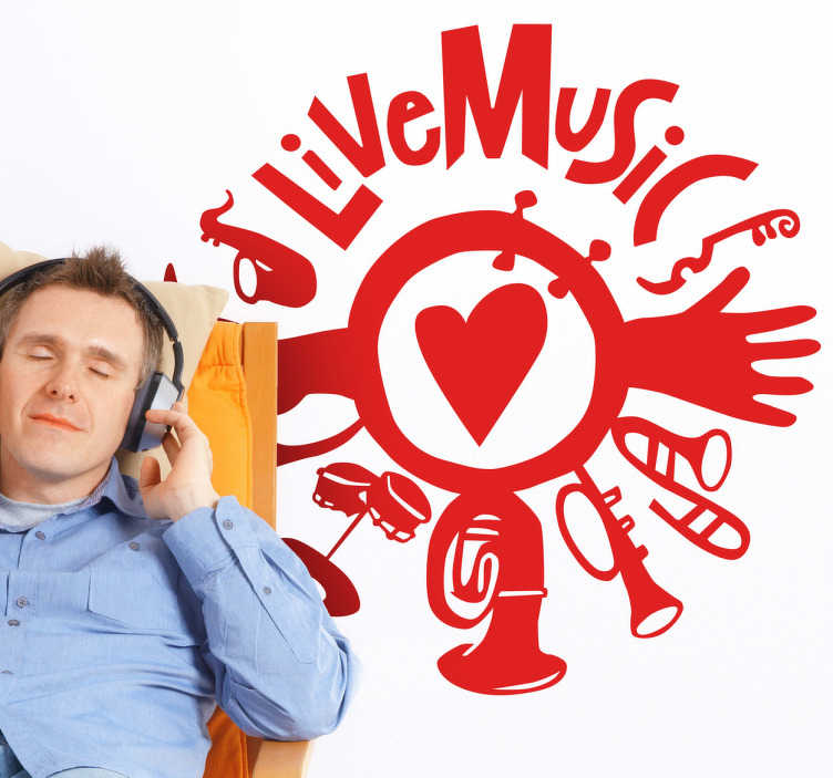 """TenStickers. Wandtattoo Live Music. Wie wäre es mit diesem dekorativen Wandtattoo mit der Aufschrift """"Live Music"""", verschiedenen Instrumenten, einem Herz und Händen."""