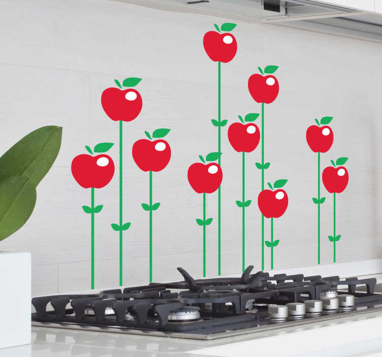 TENSTICKERS. リンゴの花壁のステッカー. キッチンステッカー - さまざまな鮮やかな赤いリンゴの実例が、地上から出現し、緑色の芽に支えられています。あなたのキッチンやダイニングエリアの装飾に最適なデカール。
