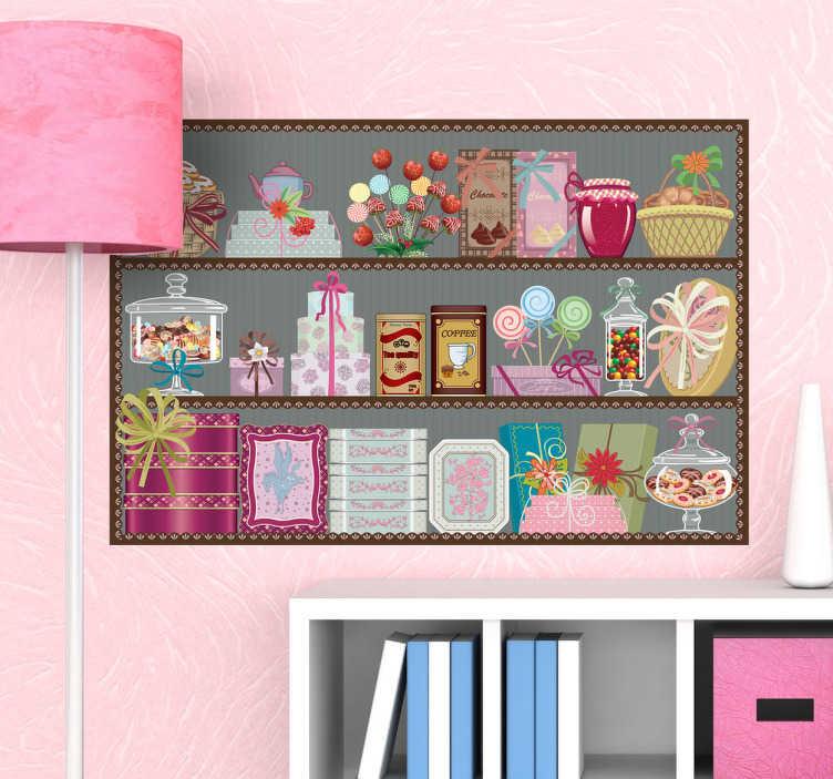 TenVinilo. Vinilo decorativo estantería dulces. Decora cualquier rincón de tu hogar con este elegante diseño adhesivo de tres estantes con golosinas.