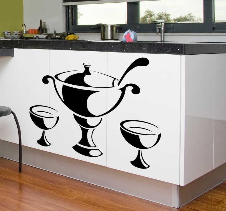 TenStickers. Suppenschüssel Aufkleber. Verzieren Sie Ihre Wand, die Küchenrückwand oder Ihre Küchenfront mit diesem Wandtattoo einer Suppenschüssel mit zwei Suppentellern.