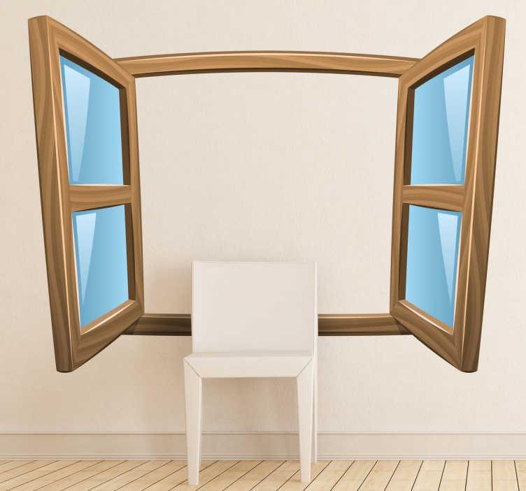 TenStickers. Muursticker getekend open raam. Op deze muursticker is een raam afgebeeld die vooral veel geïllustreerd wordt in tekenfilms en stripboeken. Vrolijke wanddecoratie.