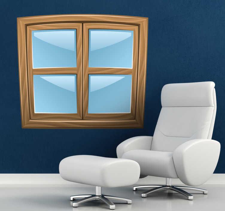 TenStickers. Naklejka na ścianę okno. Masz za mało okien w domu? Brakuje Ci światła? Udekoruj ścianę naszą oryginalną naklejką imitującą okno z drewnianym wykończeniem.