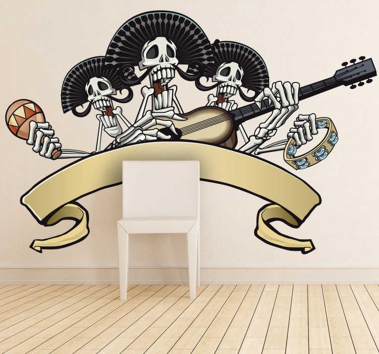 Naklejka dekoracyjna szkielety mariachi