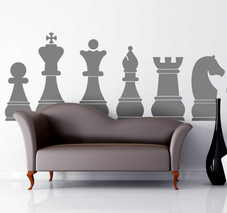 TenStickers. Chessboard Room Sticker. Chess wall sticker representing the pieces of a classical chessboard: pawn, king, queen, bishop, rook and knight. Perfect monochrome wall sticker to bring the room together and add some style to your home decor.