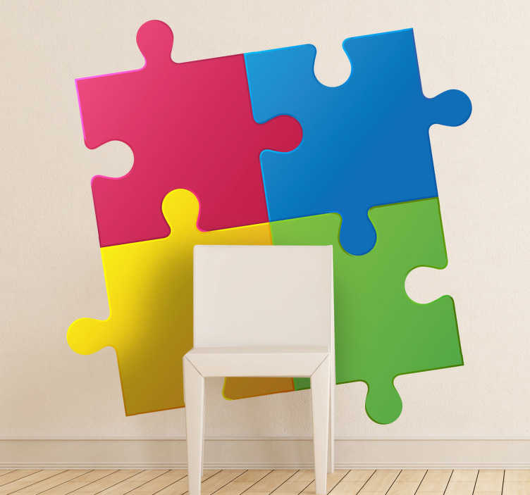 TenStickers. Sticker gekleurde puzzel. Een leuke muursticker om de saaie muren in uw huis mee op te fleuren. Een zeer mooie wandsticker van 4 puzzelstukjes, elk in een heldere kleur.