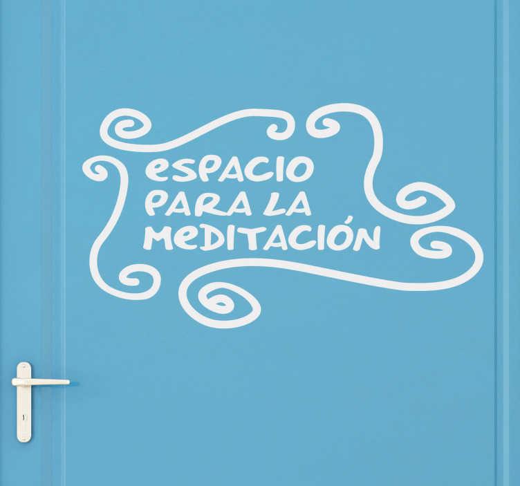 TenVinilo. Vinilo lavabo espacio meditación. Ahora, con este adhesivo, cualquier lugar de tu casa puede convertirse en un remanso de paz y relax. Un guiño cómico y de humor con esta pegatina de texto.