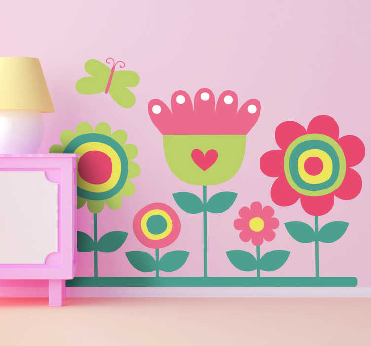 TenStickers. Colourful Garden and Butterfly Decal. Kids Flower Stickers - Illustration of five colourful flowers with a butterfly hovering over. Looks great as a kids bedroom sticker or as a nursery wall sticker.
