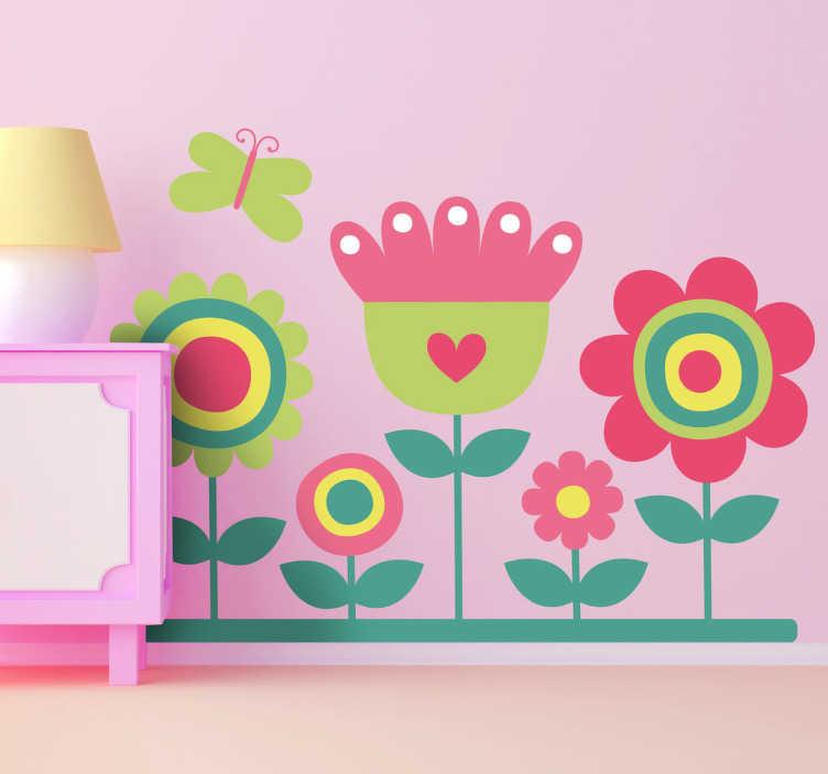 TENSTICKERS. カラフルな庭と蝶のデカール. 子供の花ステッカー - 蝶が浮かぶ5つのカラフルな花のイラスト。子供の寝室のステッカーや保育園の壁のステッカーとして素晴らしい。