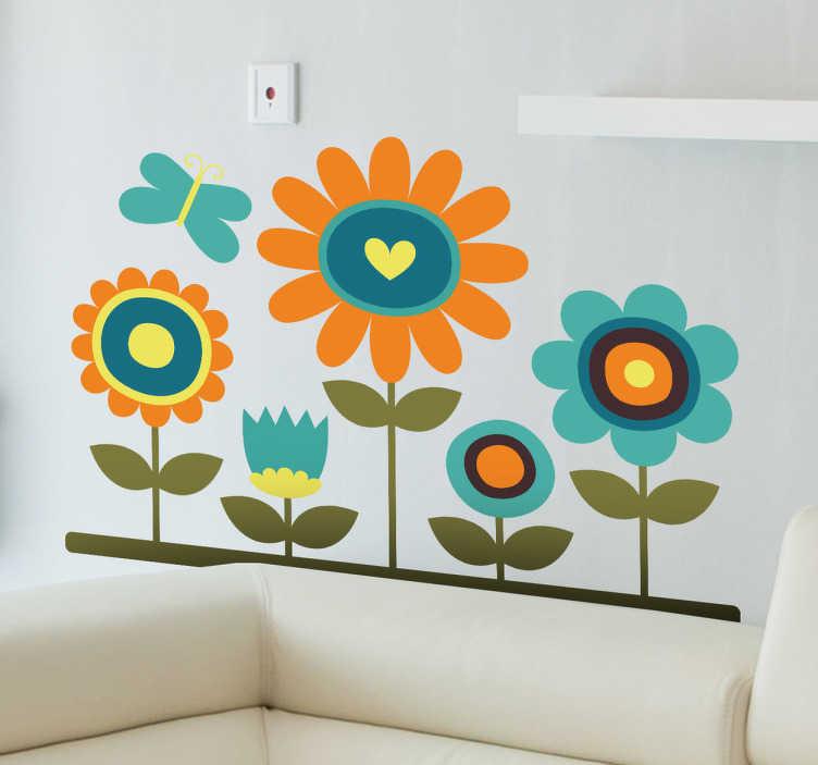 TenStickers. 데이지 & 나비 벽 스티커. 나비 펄럭이는 다섯 개의 꽃이 귀엽고 화려한 디자인. 사랑스러운 꽃 벽 스티커 우리의 데이지 벽 스티커의 컬렉션에서.