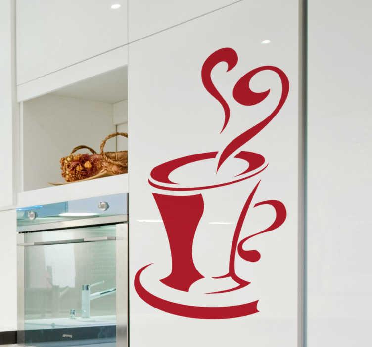 TenStickers. Naklejka dekoracyjna filiżanka. Naklejka dekoracyjna do kuchni przedstawiająca gorącą filiżankę kawy. Idealna do ozdoby szafek, ściany, czy też urządzeń gospodarstwa domowego.