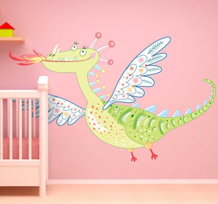 TenStickers. Naklejka dziecięca piękny smok. Naklejka przedstawia rysunek smoka z anielskimi skrzydłami, który wesoło unosi się w powietrzu.