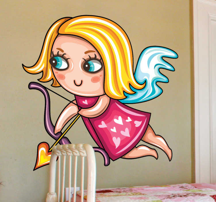 TenStickers. Blonde Cupid Girl Sticker. Sticker illustrating an angelical girl with the typical bow and a love arrow of cupid. Superb decal to decorate your children´s room.