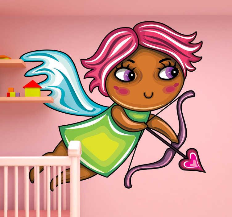 TenStickers. Sticker enfant fille rousse cupidon. Sticker mural représentant une petite fille rousse en cupidon. Idéal si vous souhaitez changer la décoration de la chambre de votre petite fille.