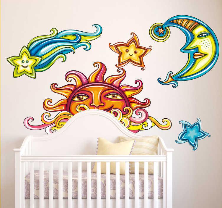 TenStickers. Naklejka dekoracyjna elementy nieba. Kolorowa naklejka dekoracyjna, która przedstawia słońce, księżyc oraz przelatującą kometę.