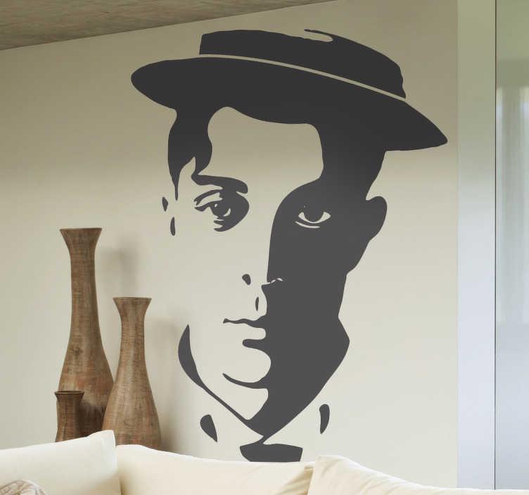 TenStickers. Sticker hoofd Buster Keaton. Deze muursticker omtrent het hoofd van Buster Keaton. Ideaal voor grote fans van deze acteur en zijn films.