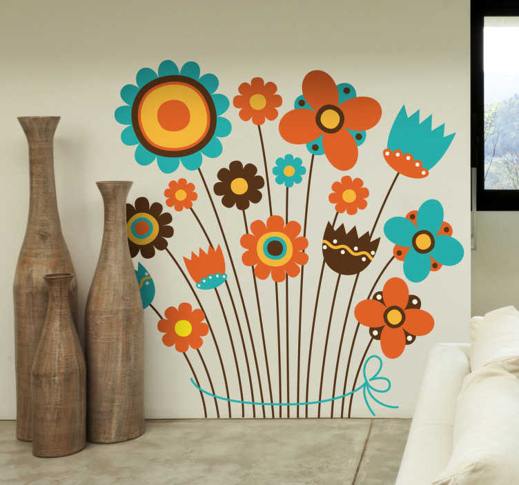 TenStickers. Autumn Floral Cosage Decal. Kids Wall Stickers - A bouquet of wild flowers with warm autumn colours, orange and brown. Ideal for decorating walls