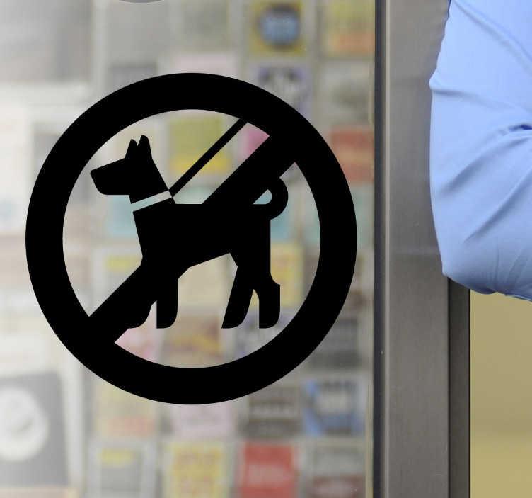 TenStickers. Interzis câinilor să semneze autocolant. Semnele companiei - nici un câine fără autocolant pentru ferestre sau pereți. Ideal pentru intrările din magazin și zonele comerciale.