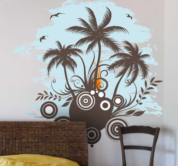 TenStickers. Sticker tropen palmbomen. Deze muursticker is ideaal voor mensen die houden van reizen naar tropische gebieden. Verkrijgbaar in verschillende formaten. Express verzending 24/48u.