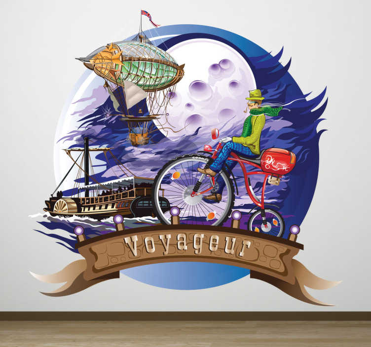 TenStickers. Wandtattoo voyageur Klassisch. Träumen Sie vom Reisen? Dieses Wandtattoo vereint traumhafte Reisemethoden! Wie einen exotischen Zeppelin, ein Dampfboot oder ein altes Fahrrad.