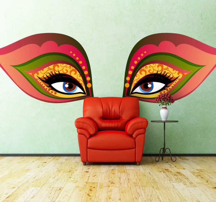 TenStickers. Naklejka dekoracyjna weneckie oczy. Naklejka dekoracyjna na ścianę, która przedstawia oczy w kolorowej masce. Obrazek jest dostępny w wielu wymiarach.
