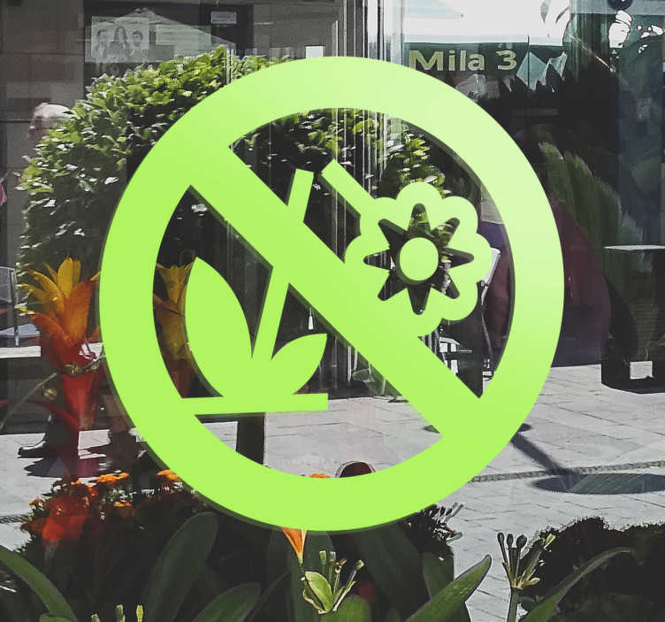 TenVinilo. Vinilo señal prohibido romper flores. Adhesivo decorativo floral para la protección de espacios verdes. Un vinilo para alejar comportamientos incivicos contra flores y jardines.