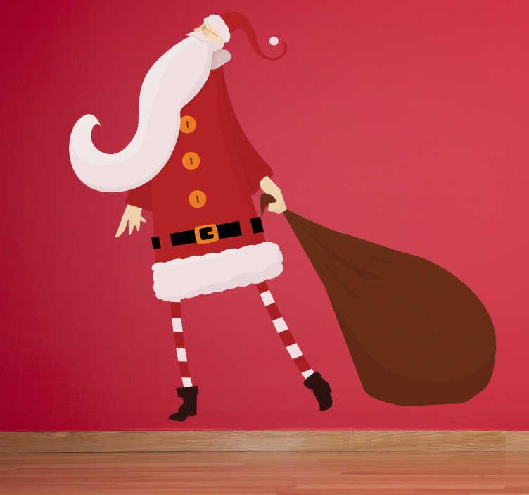 TenStickers. Sticker tekening kerstman kerstmis. Een muursticker voor het decoreren van je huis tijdens de kerst. Een mooie wandsticker met hierop de kerstman en een jutte zak gevuld met cadeaus.