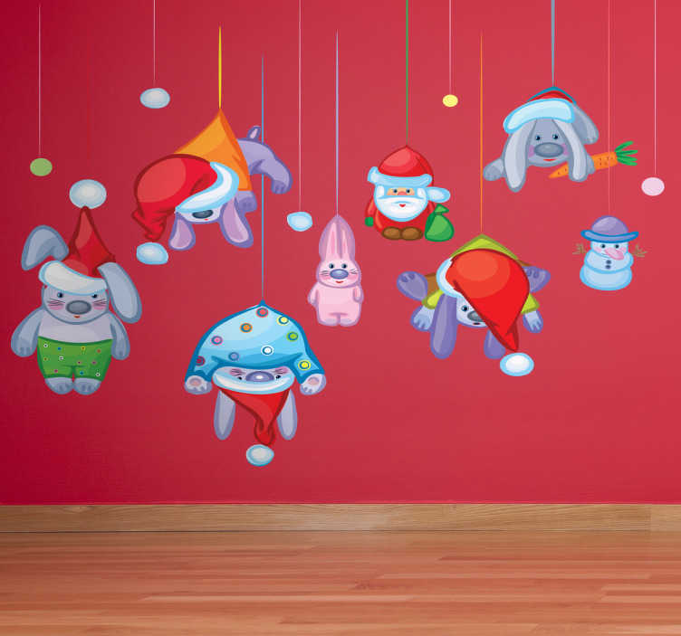 TenStickers. Christmas Hanging Characters Sticker. Decorate your home with this festive sticker of stuffed animals and dolls that appear to be hanging from your walls.