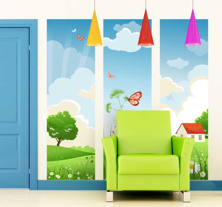 TenStickers. Naklejka łąka. Naklejka przedstawiająca trzy panele, które łacznie tworzą ilustrację swojskiego pejzażu: zielona łąka, domek, niebieskie niebo, motyl.