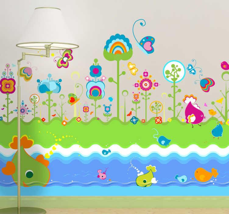 TenVinilo. Adhesivo infantil mundo fantástico. Colorido vinilo que representa un prado psicodélico en la ribera de un río plagado de divertidos peces.