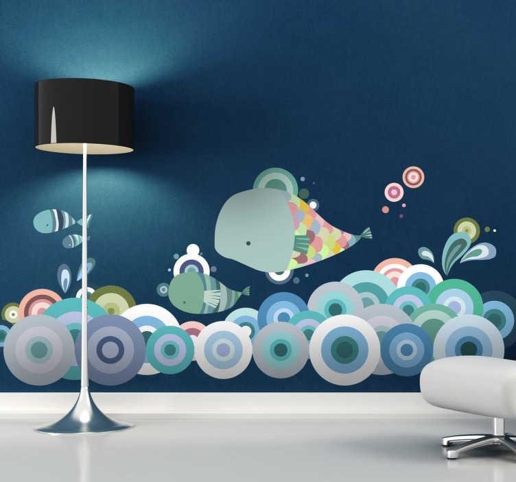 TenStickers. Autocolante infantil Vida Marinha. Autocolante decorativo perfeito para decorar o quarto de seus filhos, ilustrando um pequeno grupo de peixes nadando no oceano.