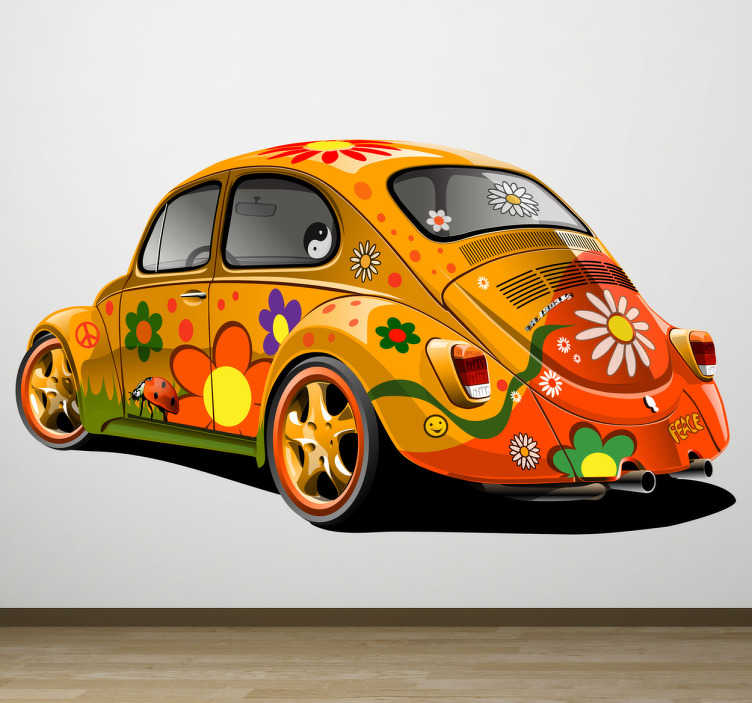 TenStickers. 꽃 desig 히피 비틀 자동차 스티커. 이 비틀 벽 스티커로 60 년대로 되돌아 가세요. 히피 벽 스티커에는 밝은 화려한 꽃과 평화의 표시로 장식 된 딱정벌레 차가 있습니다.