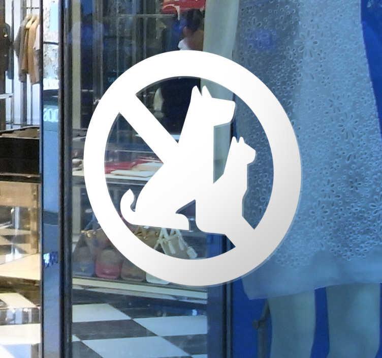 Tenstickers. Ingen dyr tillot vinduet klistremerke. Ingen dyr tillatt vinduet klistremerke tilgjengelig i en rekke forskjellige farger og størrelser. Denne klistremerket er for å stikke til et vindu eller en vegg i en butikk eller restaurant for å fortelle kunder at hunder, katter og andre kjæledyr er forbudt innenfor.