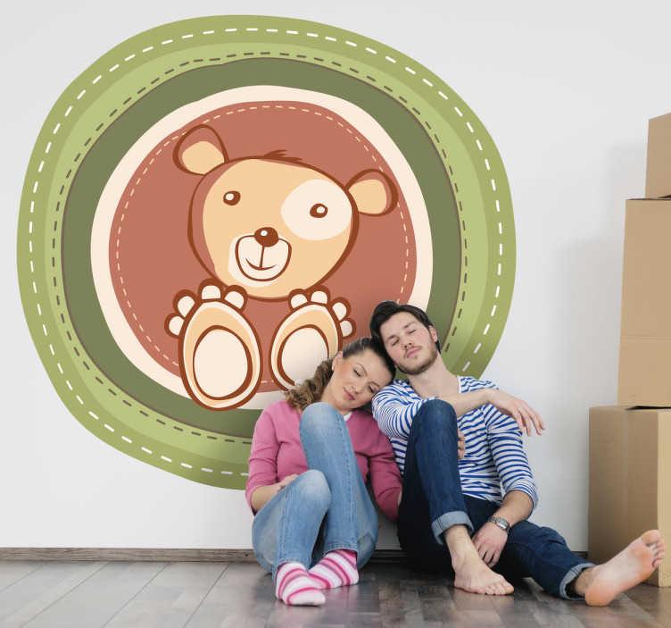 TenStickers. Vinil Decorativo Urso Divertido. Vinil decorativo ilustrando um urso com moldura redonda, um vinil perfeito para personalizar a decoração da parede do quarto infantil de sua casa.