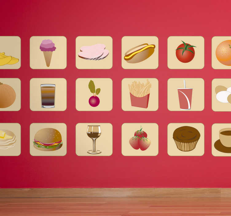 TenStickers. Naklejka różny pokarm. Kolekcja naklejek dekoracyjnych w formie kwadratów zawierających różne obrazki pożywienia między innymi: banany czy  jabłko