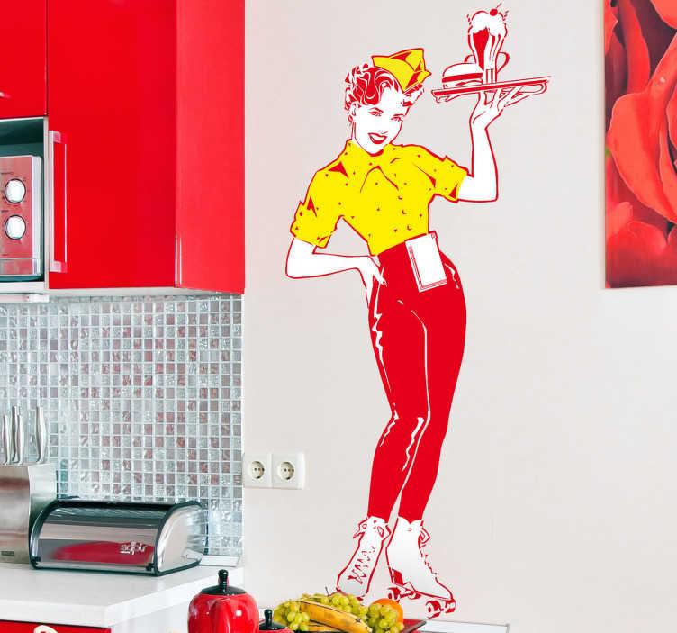 TenVinilo. Vinilo decorativo camarera pop. Espectacular adhesivo inspirado en los años cincuenta americanos de una joven chica en patines con una bandeja de comida.