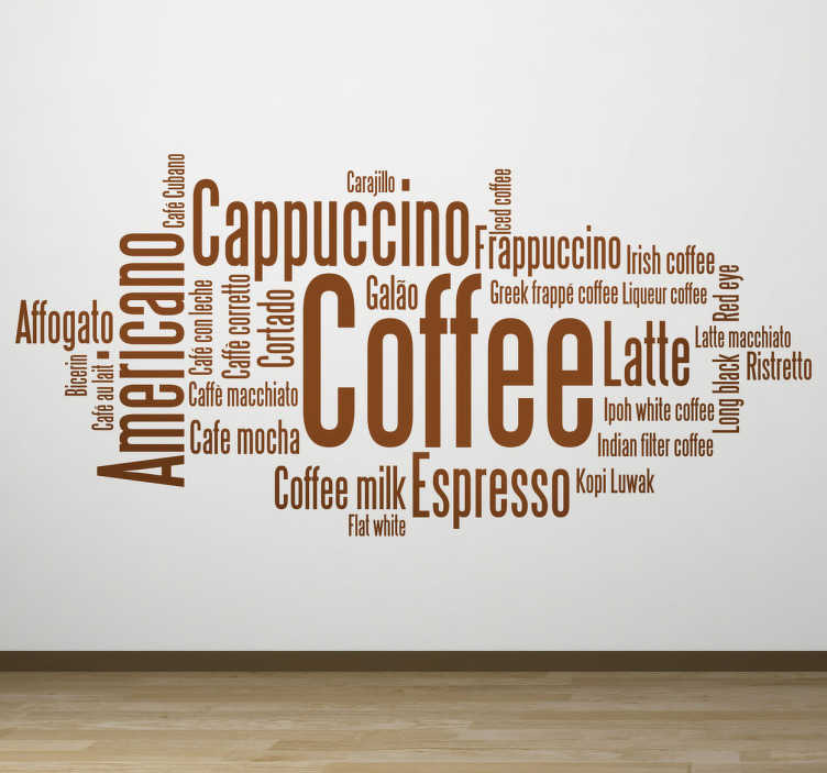 TenStickers. Café Concept Wall Sticker. A brilliant text decal from our collection of coffee wall art stickers illustrating keywords related to coffee! Ideal for those coffee lovers!