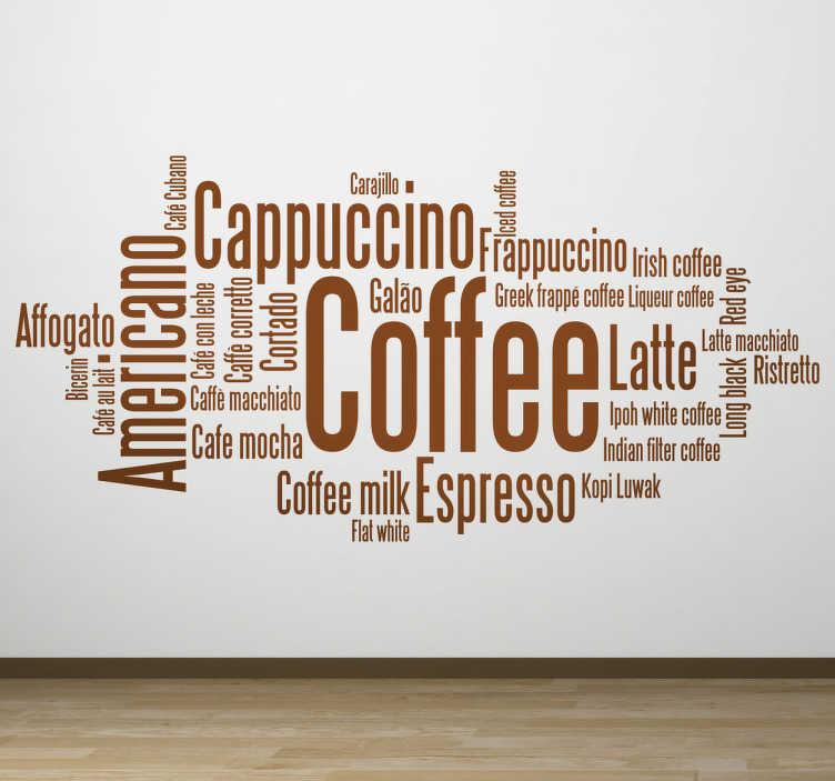TenStickers. Café koncept stenske nalepke. Sijajna besedna dekalacija iz naše kolekcije umetniških nalepk za kavo, ki ilustrira ključne besede, povezane s kavo! Idealen za ljubitelje kave!