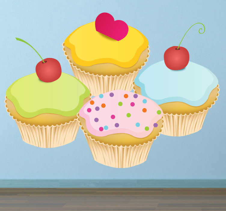 TenStickers. Four Cupcakes Decal. Wall Stickers - Decals - Illustration of four tasty and delicious cupcakes topped with either cherries, sprinkles and a heart.