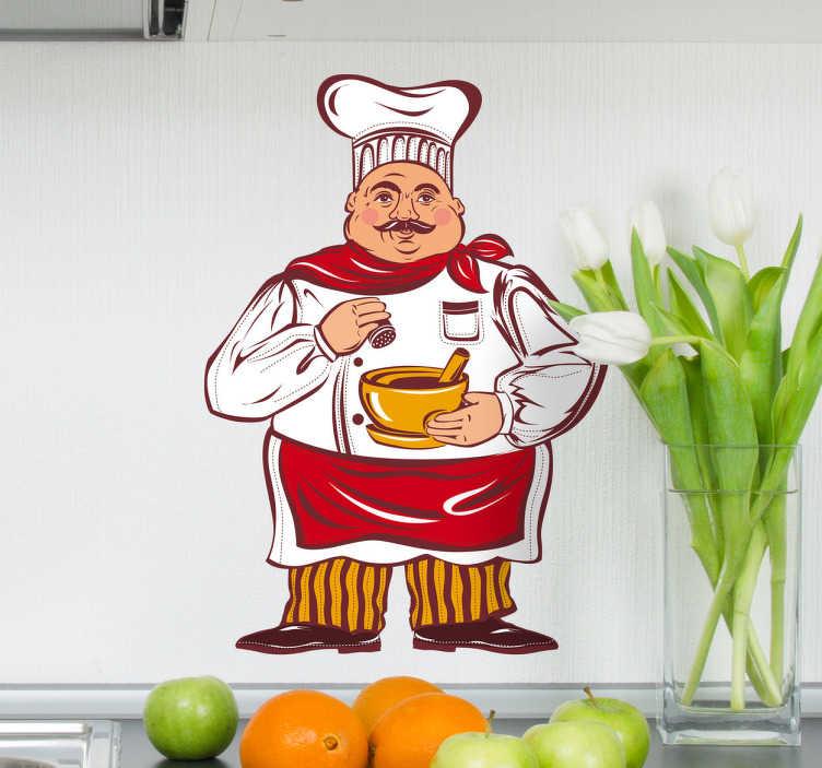 TenStickers. Naklejka rysunek kucharz. Ładna naklejka dekoracyjna przedstawiająca rysunek z kucharzem w trakcie przyprawiania zaupy. Oryginalny pomysł na zmianę wystroju w Twojej kuchni.
