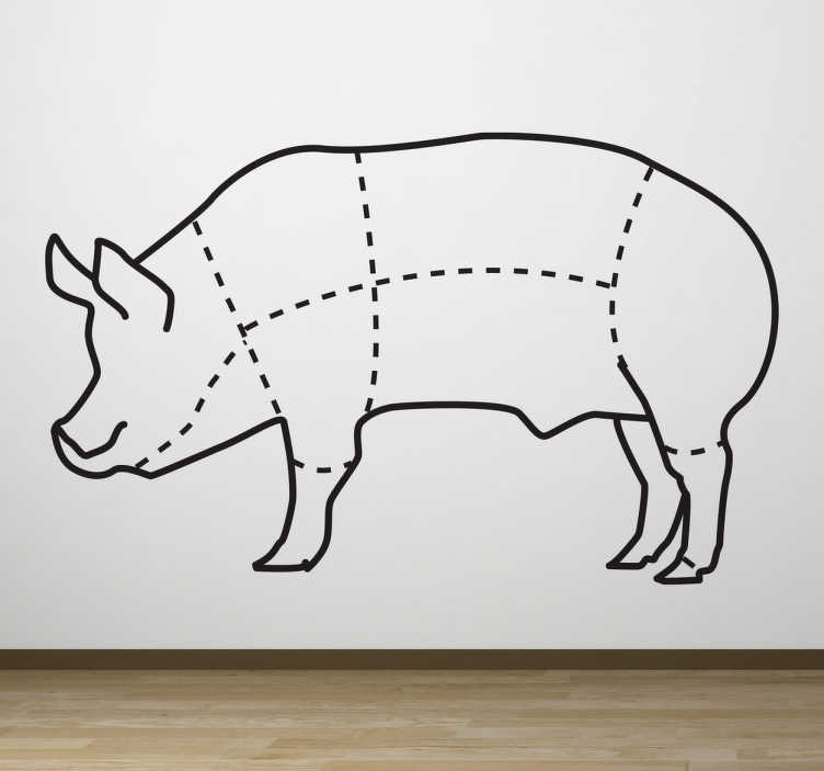 TenStickers. Pig Body Sections Wall Sticker. Wall Stickers - An outline diagram that marks the parts of a pig. Great for business such as a butchers or a restaurant.