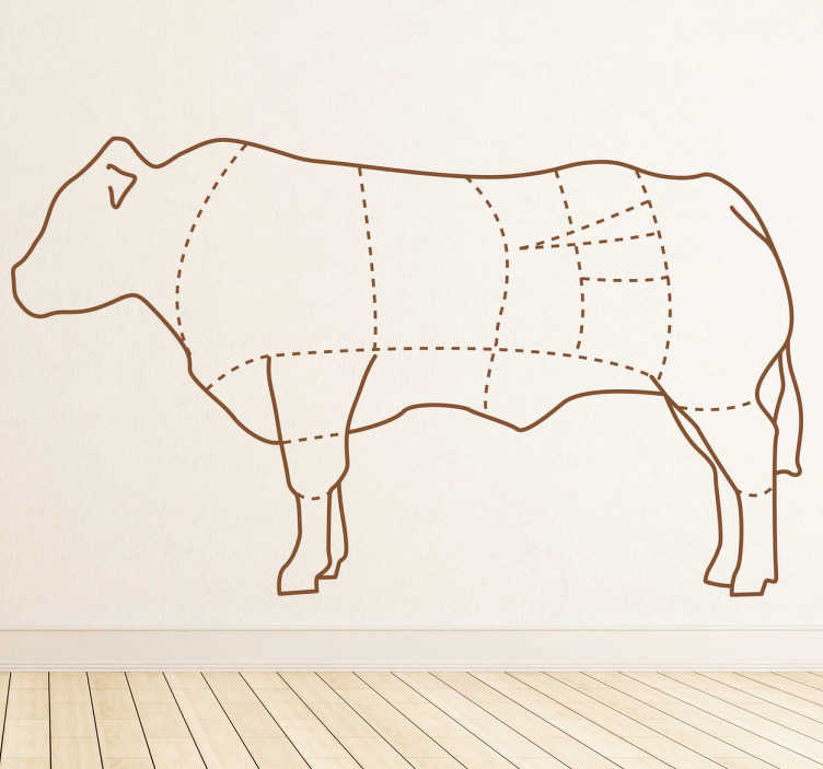 cow body sections wall sticker 4678 cow body sections wall sticker tenstickers